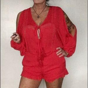 Cotton Candy Red Romper Size M